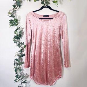 Pink Crushed Velvet Long Sleeve Party Dress